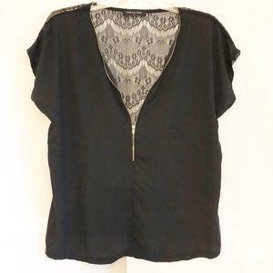 Fashion To Figure Black Shear Front Lace Back Sz1X